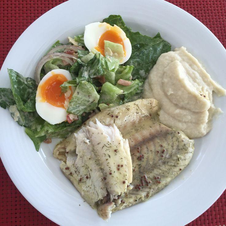 Barramundi with Caesar salad and cauliflower mash