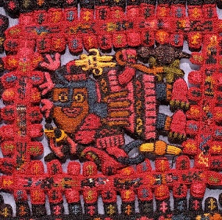 """An extraordinary textile from a burial in Paracas, Peru  (about 700 BC to 100 AD, the """"early horizon."""".) Click to get a larger picture. Repinned by Elizabeth VanBuskirk, author of """"Beyond the Stones of Machu Picchu,"""""""