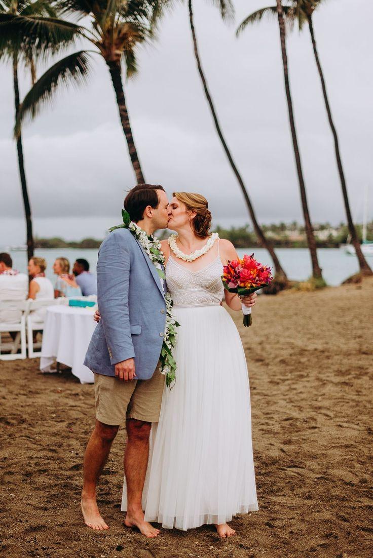 Get married on the beach in Hawaii. Beautiful sunset beach wedding on the Big Island of Hawaii. Lava Lava Beach Club Hawaii small intimate wedding  in Waikoloa, Hawaii near Kona.