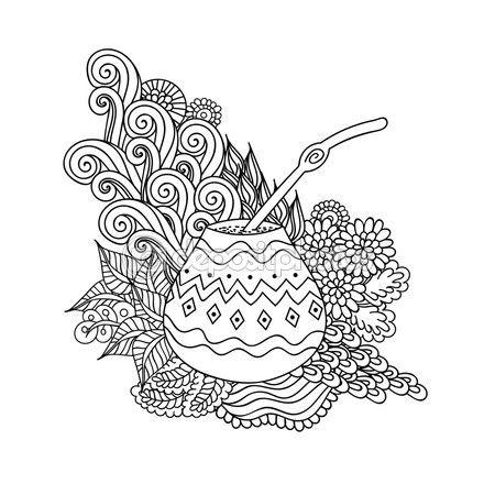 Yerba mate tea gourd — Vector de stock