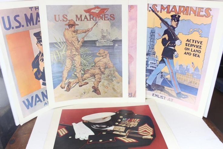LOT Vintage? Repro? Marines Military Army Navy Enlistment Posters-GREAT PICTURES