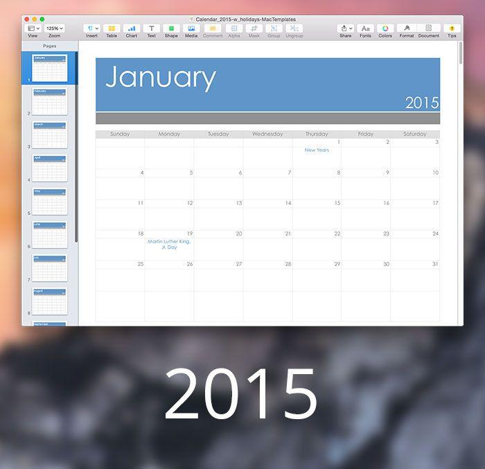 calendar template for mac