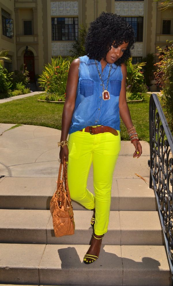 Style Pantry | Sleeveless Denim Shirt + Neon Skinnies + Neon Sandals