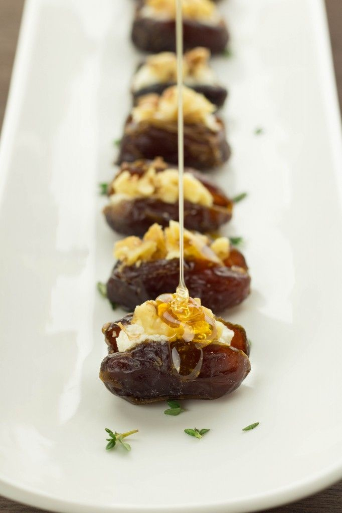 Honey goat cheese dates with walnuts !