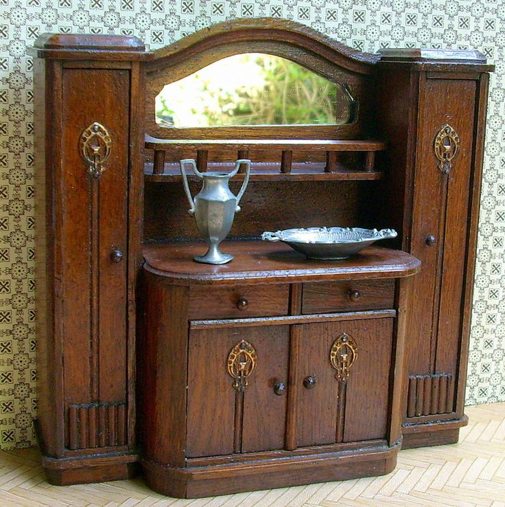 antike kl jugendstil anrichte schrank manufaktur salonm bel puppenstube rar altbauwohnung. Black Bedroom Furniture Sets. Home Design Ideas