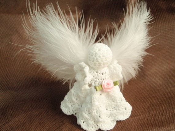 Crochet angel in white with feather wings. by leisurecrochet