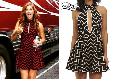 Cassadee Pope posed outside of her tour bus today wearing a red and black version of the Gabriella Rocha Eva Halter Dress ($69.00).