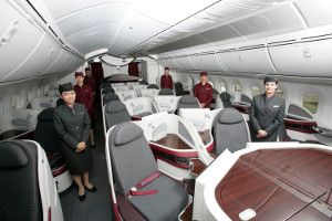 Qatar Airways' Boeing 787 Dreamliner Soars At Farnborough Air Show