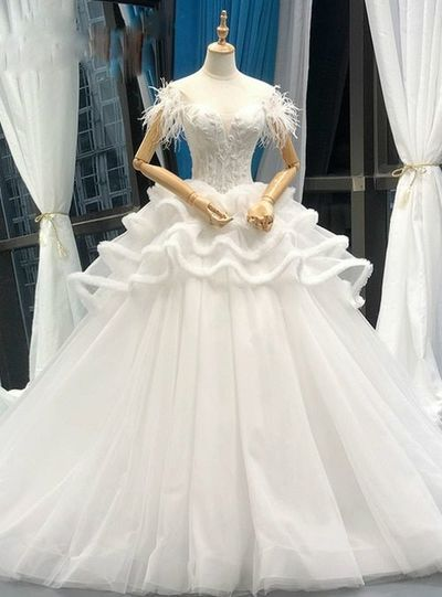 White Ball Gown Corset Tulle Off The Shoulder Wedding Dress With Feather,W0231 from Dressmelody