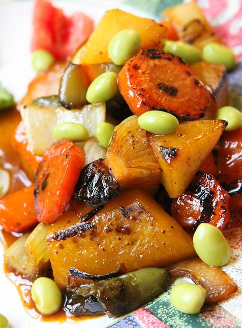 Apple Glazed Vegetable Stir fry - I used sweet potatoes, butternut squash, carrots, brussels sprouts and edamame. Need to use a little brown sugar, I believe.