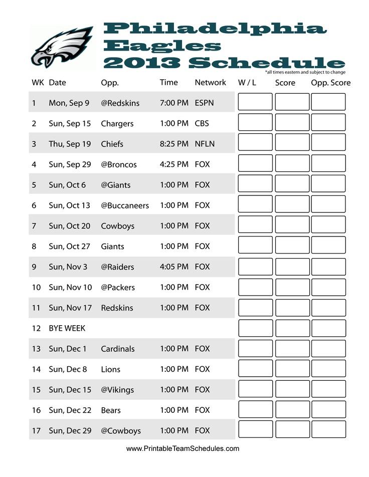 Philadelphia Eagles 2013 NFL Football Schedule