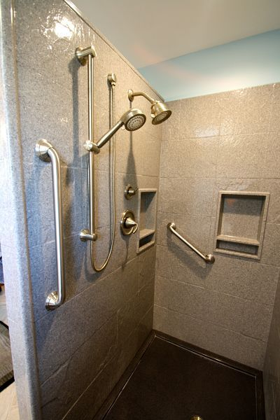 Pre Fabricated Walk In Shower With Grab Bars