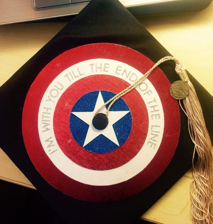 Captain America graduation cap decoration with quote from movie