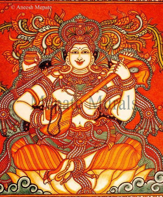 Saraswathi Devi - Mural art by artist Aneesh Mepate (Mepate Murals)    #AneeshMepate, #KeralaMurals, #MepateMurals, #guruvayur, #Art, #KeralaMuralArt, #Hinduism, #kerala_Murals https://www.facebook.com/Mepate.Murals