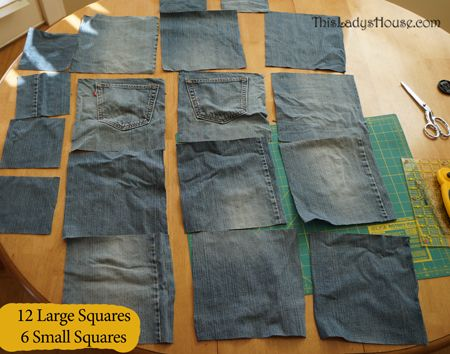 Cutting Jeans for Quilt Blocks   This Ladys House