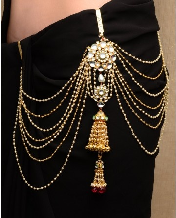 Pearl Tasseled Sari Belt with Jhumki Drop
