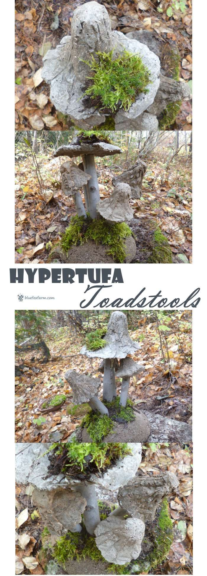 Hypertufa Toadstools - not just your ordinary mushrooms... Rustic Garden Art   Hypertufa Projects