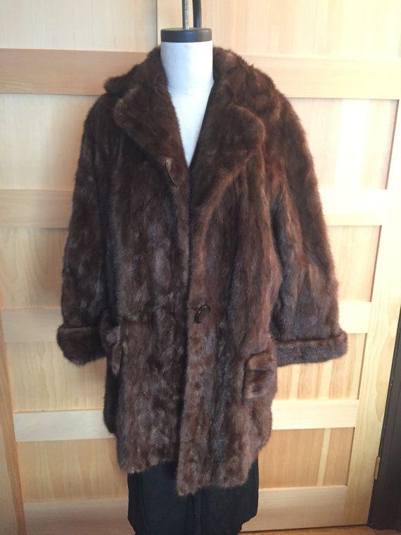 Vintage 1950s Dark Brown Mink Coat  Rolled by TuckedAwayAntiques