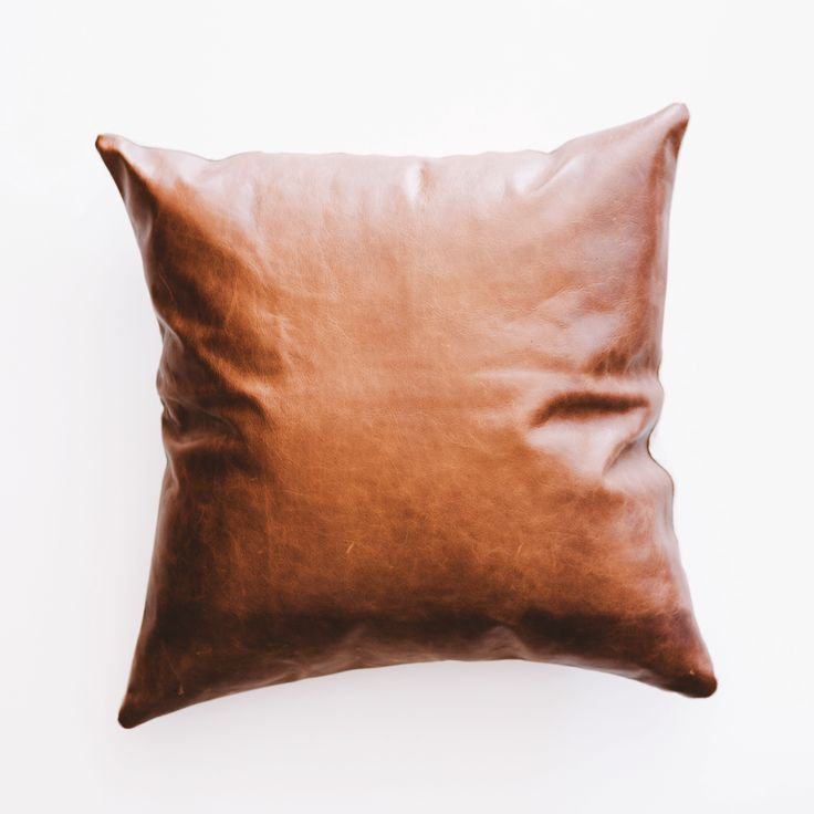 TAN LEATHER AND LINEN BACK CUSHION