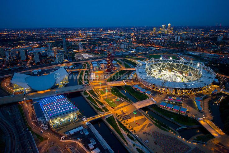 Night aerial view of London Olympic 2012 Stadium and Park