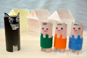 Reenact The Three Little Pigs with this thrifty recycled craft!