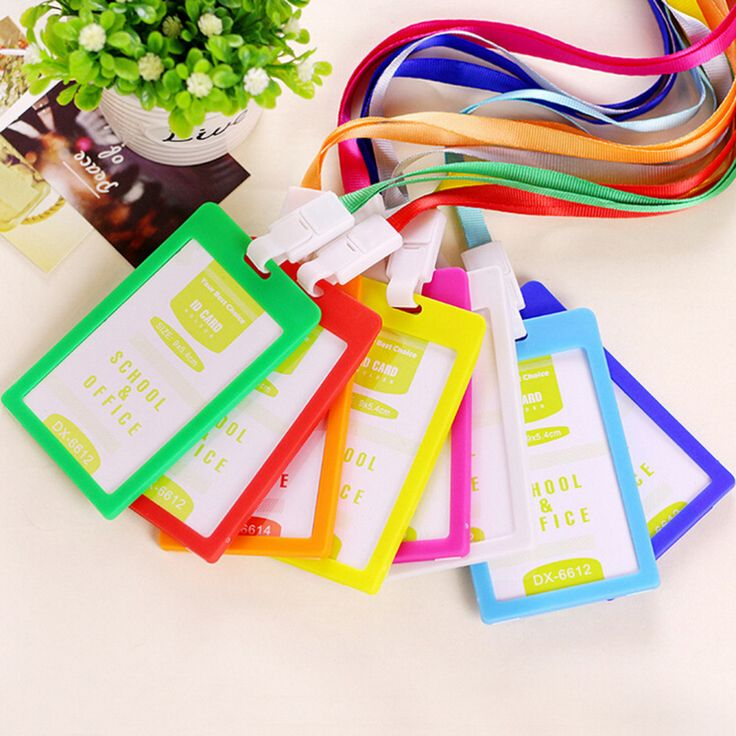 PVC ID Badge Holder Accessories Vertical Credit Card Bus Cards Case Papelaria Cute Stationery Supplies With Lanyard Badged Reel