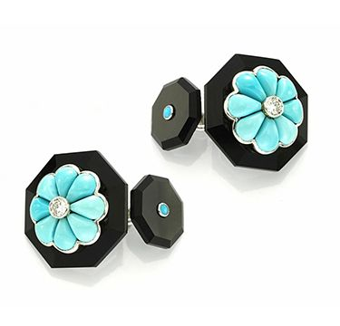 A Pair of Turquoise, Diamond and Onyx Cufflinks, by Bhagat. Via FD Gallery, www.fd-inspired.com