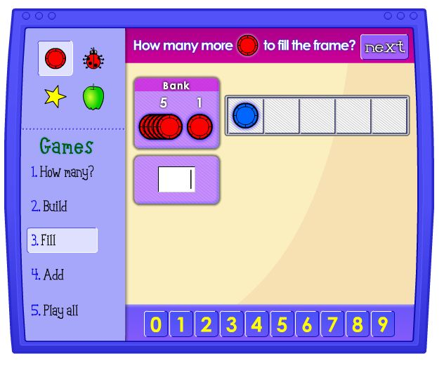 Five Frame: Thinking about numbers using frames of 5 can be a helpful way to learn basic number facts. The four games that can be played with this applet help to develop counting and addition skills.