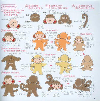 Casinha dos moldes: Template, A Menina, Pattern, Quiet Book, Felt, Molds, Monkey, Animal