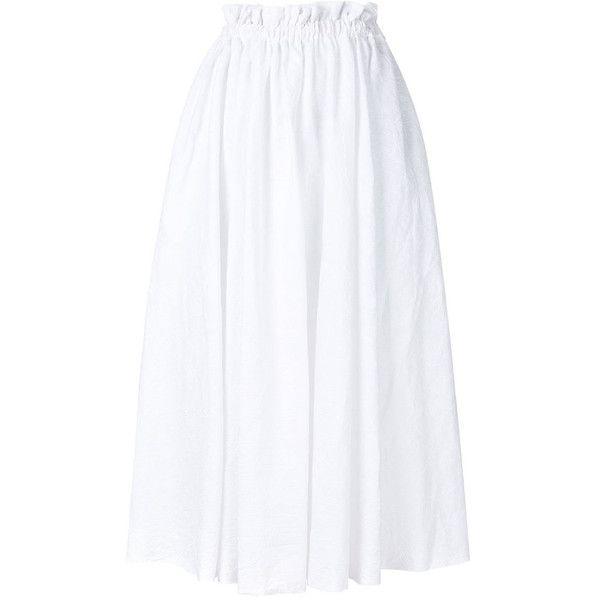 Loewe White High-Waisted Full Skirt ($1,690) ❤ liked on Polyvore featuring skirts, white, high-waist skirt, high-waisted skater skirts, high-waisted midi skirts, white high waisted skirt and white flared skirt