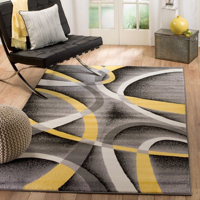 Orren Ellis Gaeta Grey Yellow Indoor Area Rug In 2019