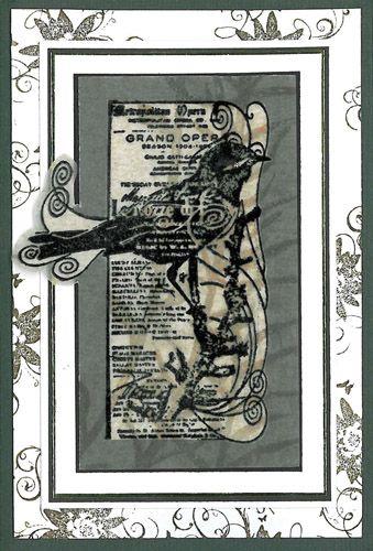 Stamp-it Australia: 3965F Bird Collage, 3961D Lotus Swirl - Card by Annie
