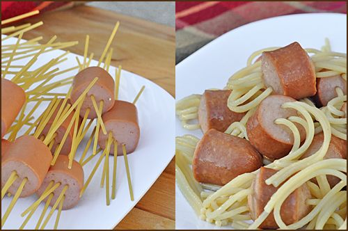 Threaded Spaghetti Hot Dog Bites - for days when I crave hotdogs and mac-n-cheese: Fingers Food, Food Ideas, For Kids, Cute Ideas, April Fools Day, Kids Recipes, Hot Dogs, Kids Food