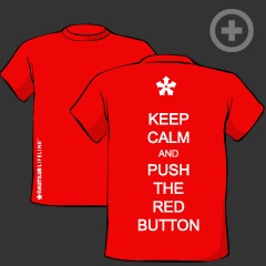 """""""Keep Calm and Push the Red Button"""" T-shirt in Red"""