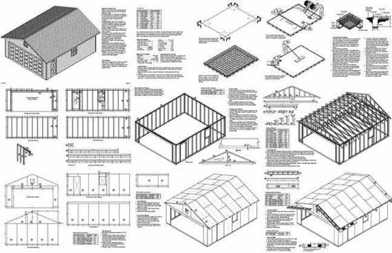 20 X 24 Two Car Garage Plans Workshop Building Project Blueprints Plans Step By Step Instruction Garage Plans Roofing Shed Plans