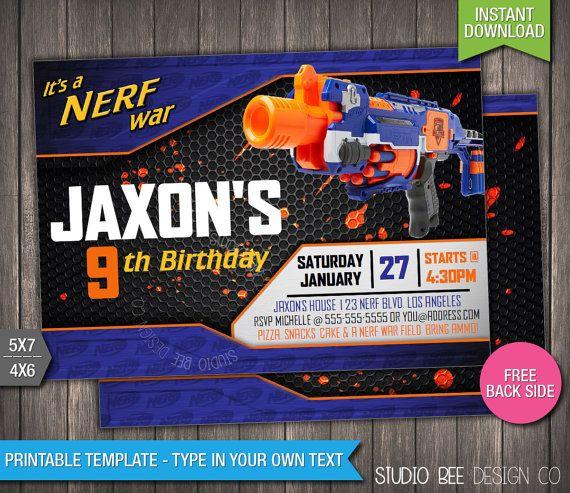 Nerf Wars Birthday Invitation Instant Download