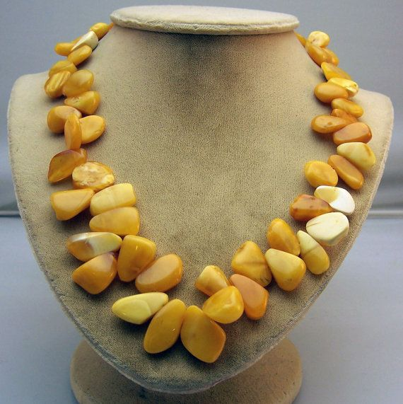 Butterscotch Baltic Amber Corn Kernel Necklace by WoodrowsWhatnots