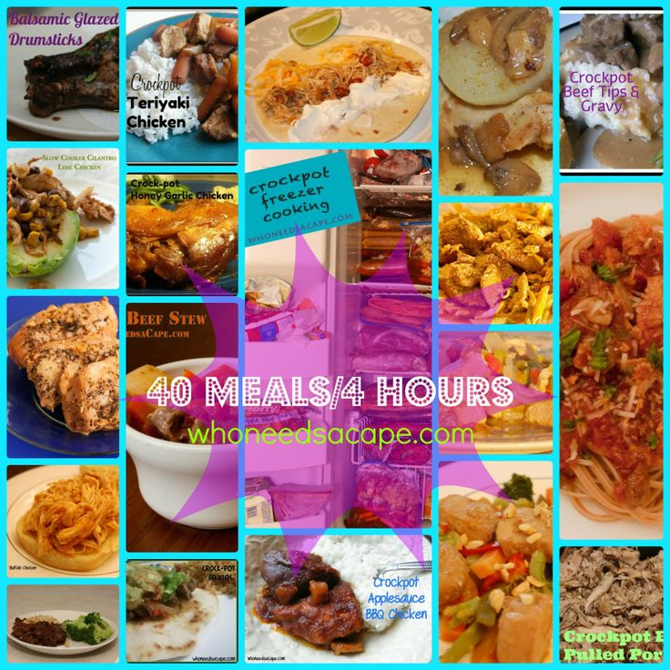 40 Meals/4 Hours Crockpot Freezer Cooking | whoneedsacape.com