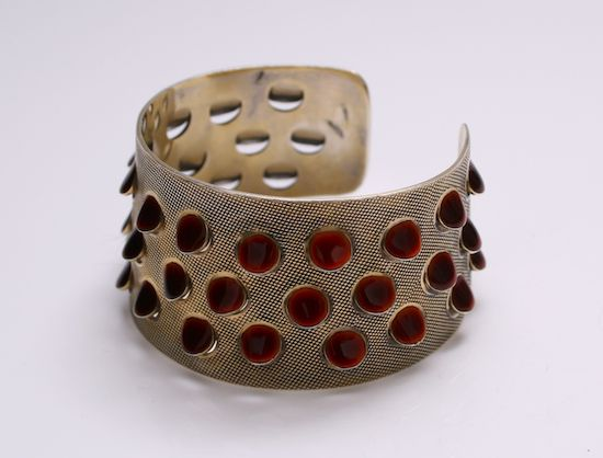 "Rare cuff designed by Grete Prytz Kittelsen for Tolstrup Norway c.1953 Gilded Sterling Silver and red Enamel. From the 'Dots"" series."