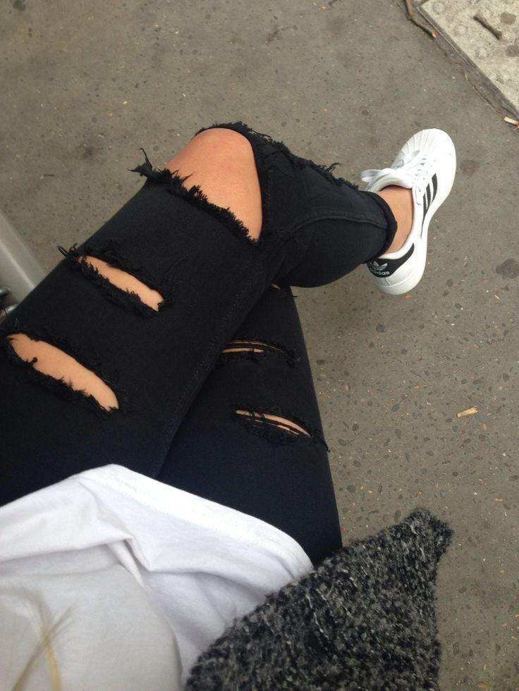 Adidas Superstar Blanche Et Noir Style