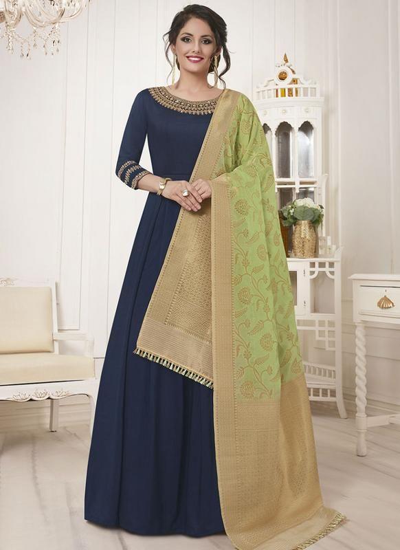 b57296904f SareeBuzz Navy Blue Silk Embroidered Work Anarkali Salwar Kameez in ...