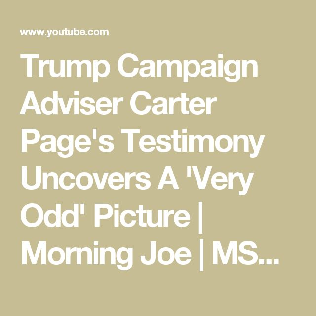 Trump Campaign Adviser Carter Page's Testimony Uncovers A 'Very Odd' Picture | Morning Joe | MSNBC - YouTube