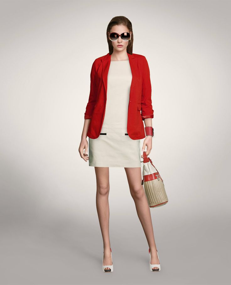 Beige with red