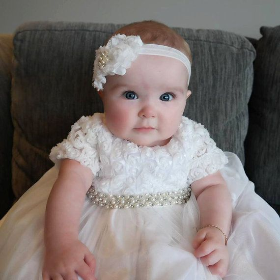 Off White Rosette Christening Gown Baptism Gown Dedication