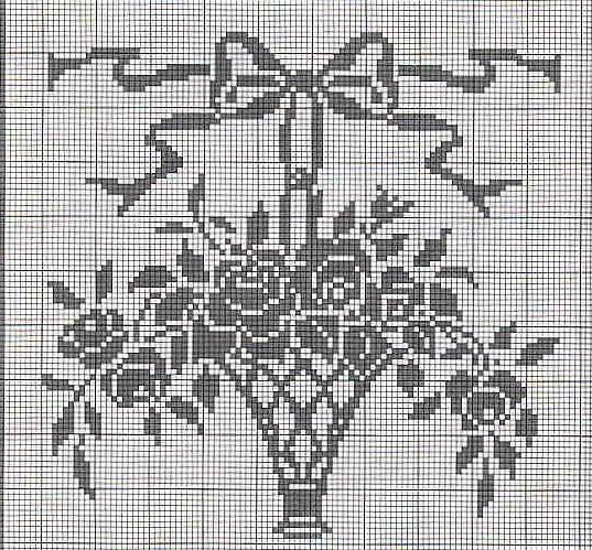 Filet crochet rose basket