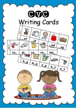 CVC Writing Cards is a great literacy station activity to consolidate beginning, middle or ending sounds. There are 16 cards in each set containing 5 words per card. There are 4 sets; a set missing the beginning sound, a set missing the ending sound, a set missing the middle sound and a set with no sounds just pictures.