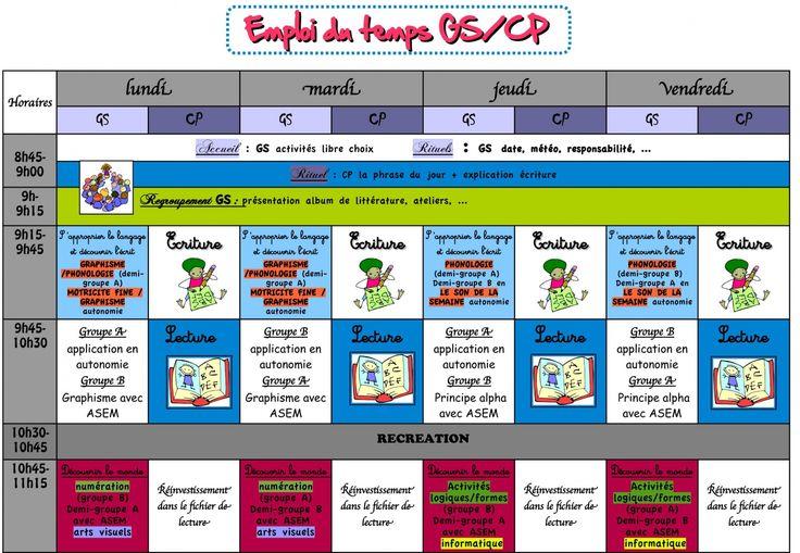 Emploi du temps GS/CP (2012/2013)