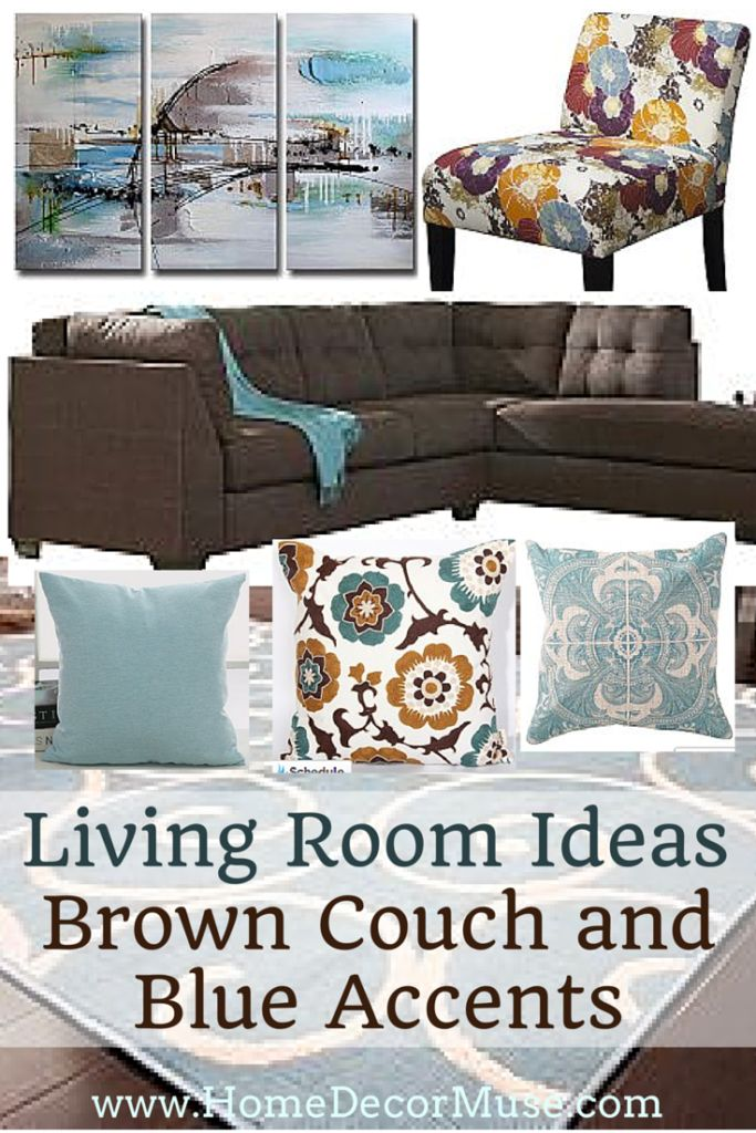 Brown Couch and Blue Accents Living Room. Home decor ideas and inspiration. www.homedecormuse.com