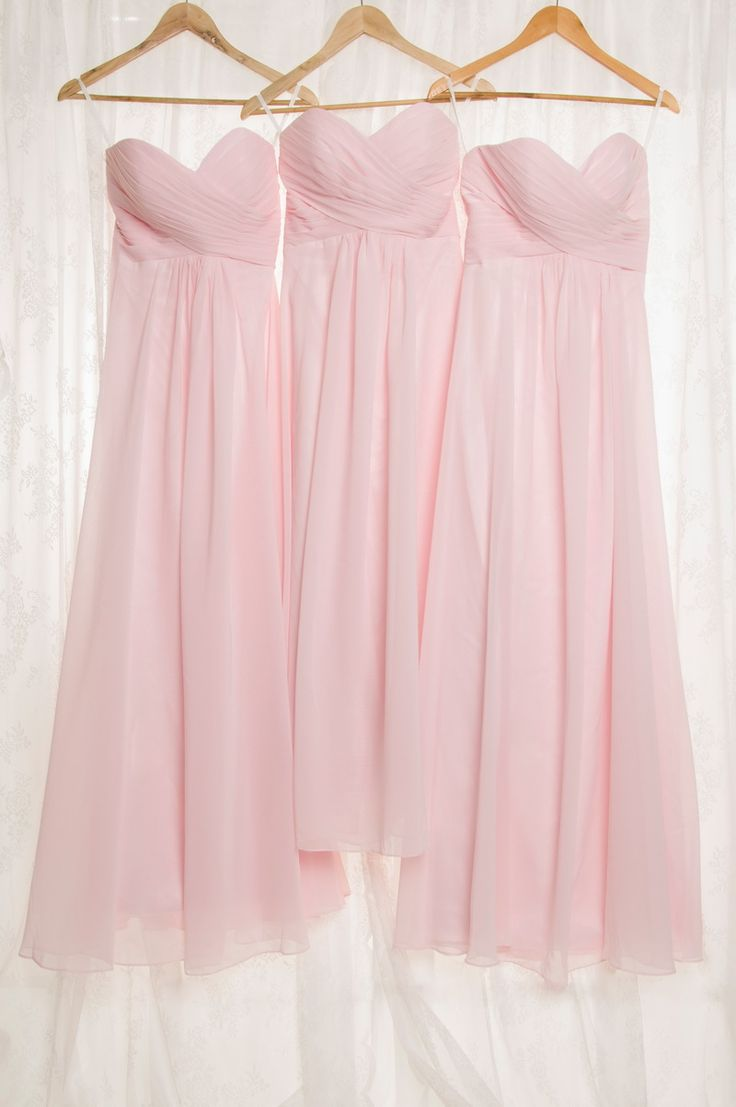 blush pink wedding ideas - strapless sweetheart  blush pink bridesmaid dresses in long length