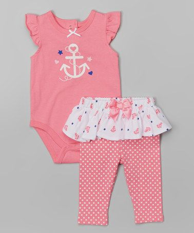 Look what I found on #zulily! Pink Anchor Bodysuit & Skirted Leggings - Infant by Vitamins Baby #zulilyfinds